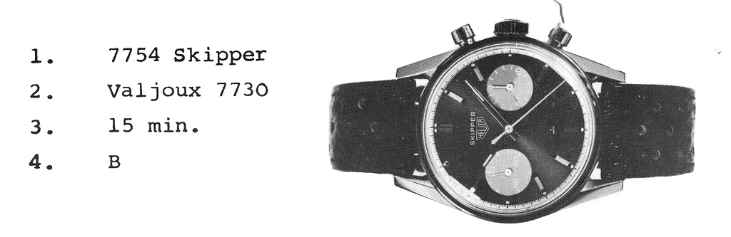 Catalogprint for the first Heuer Skipper - Carrera Case 7754 aka Skipperera