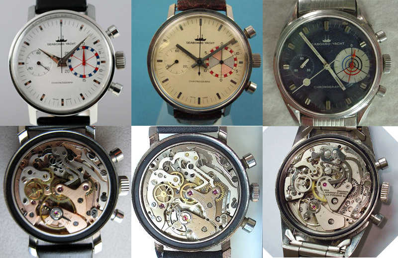 Seaboard-Yacht Editions 1st: dauphin hands - Landeron 152   2nd hatched subdial - Landeron 248   3rd dark dial - Valjoux 7733